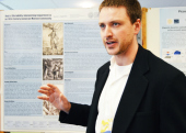 "David Ingleman, Anthropology with his poster presentation, ""Kojo's (Dis)ability: Interpreting Impairment in an 18th-Century Jamaican Maroon Community."""